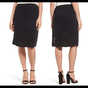 Nic+Zoe Aurora Textured Knit Pencil skirt-black XL